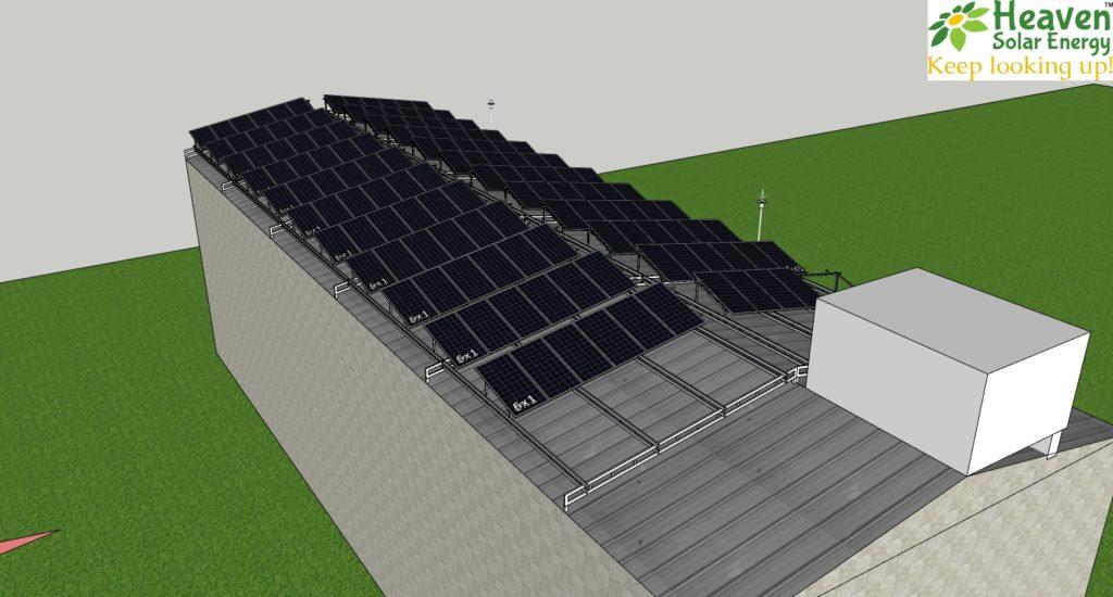 solar panel installation on shed east west slope